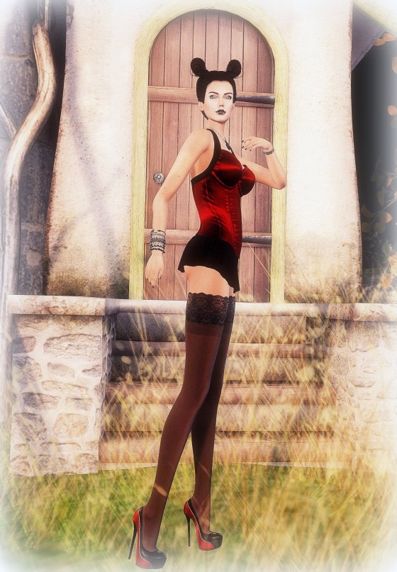 L Elite - Short Red and Black short dress_001.bmp